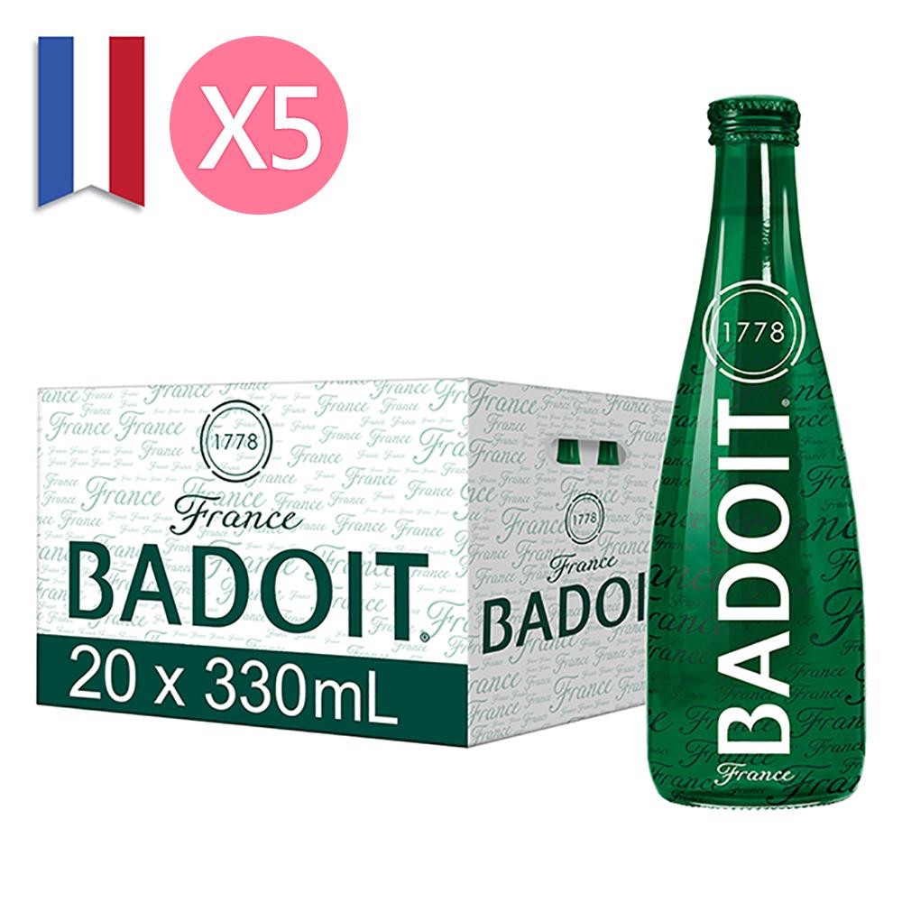 【BADOIT 波多】天然氣泡礦泉水330ml (20入/Glass/箱)x5箱