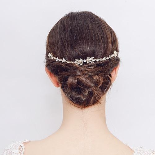 米蘭精品 髮飾水鑽髮梳-鑲鑽花卉枝蔓合金頭飾2色73xr45