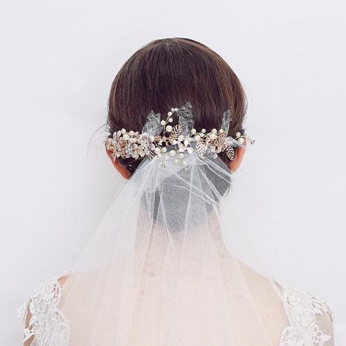 米蘭精品 髮飾珍珠髮夾-花朵水鑽枝蔓合金頭飾73xr19