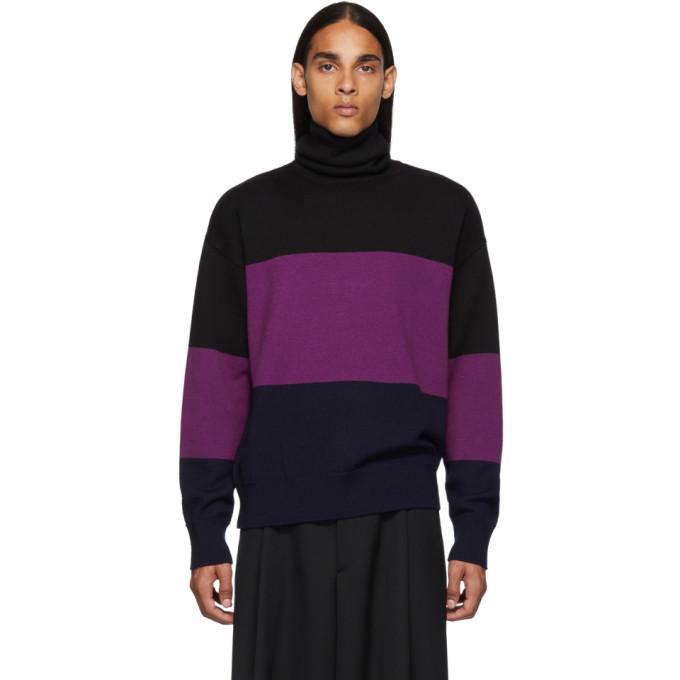 Dries Van Noten 黑色 and 紫色羊毛高领毛衣