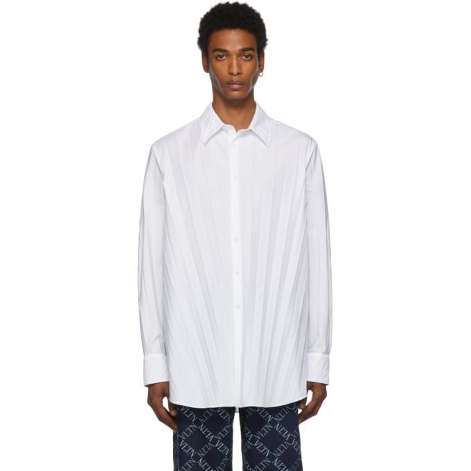Valentino 白色褶裥衬衫