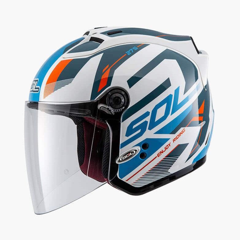 SOL 安全帽 27S SL-27S 星艦 白藍橘 半罩 3/4罩 通風透氣 LED燈 雙D扣 抗UV