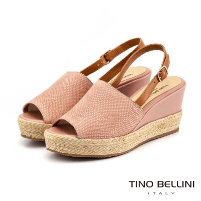 Tino Bellini 巴西進口蛇紋魚口麻編楔型涼鞋