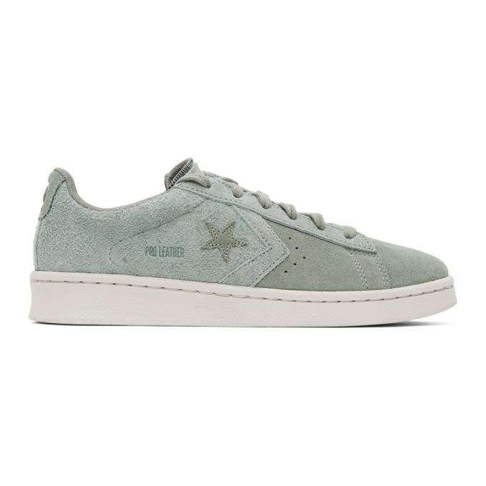 Converse 绿色 Pro Leather OX 绒面革运动鞋