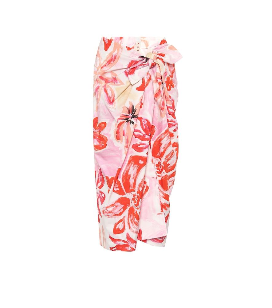 Floral cotton-blend midi wrap skirt