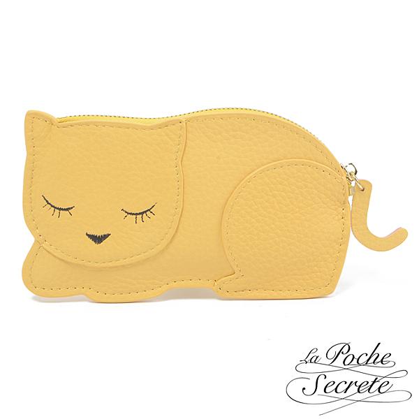La Poche Secrete 微笑睡貓咪造型真皮鑰匙零錢包(多色可選) LT-8098
