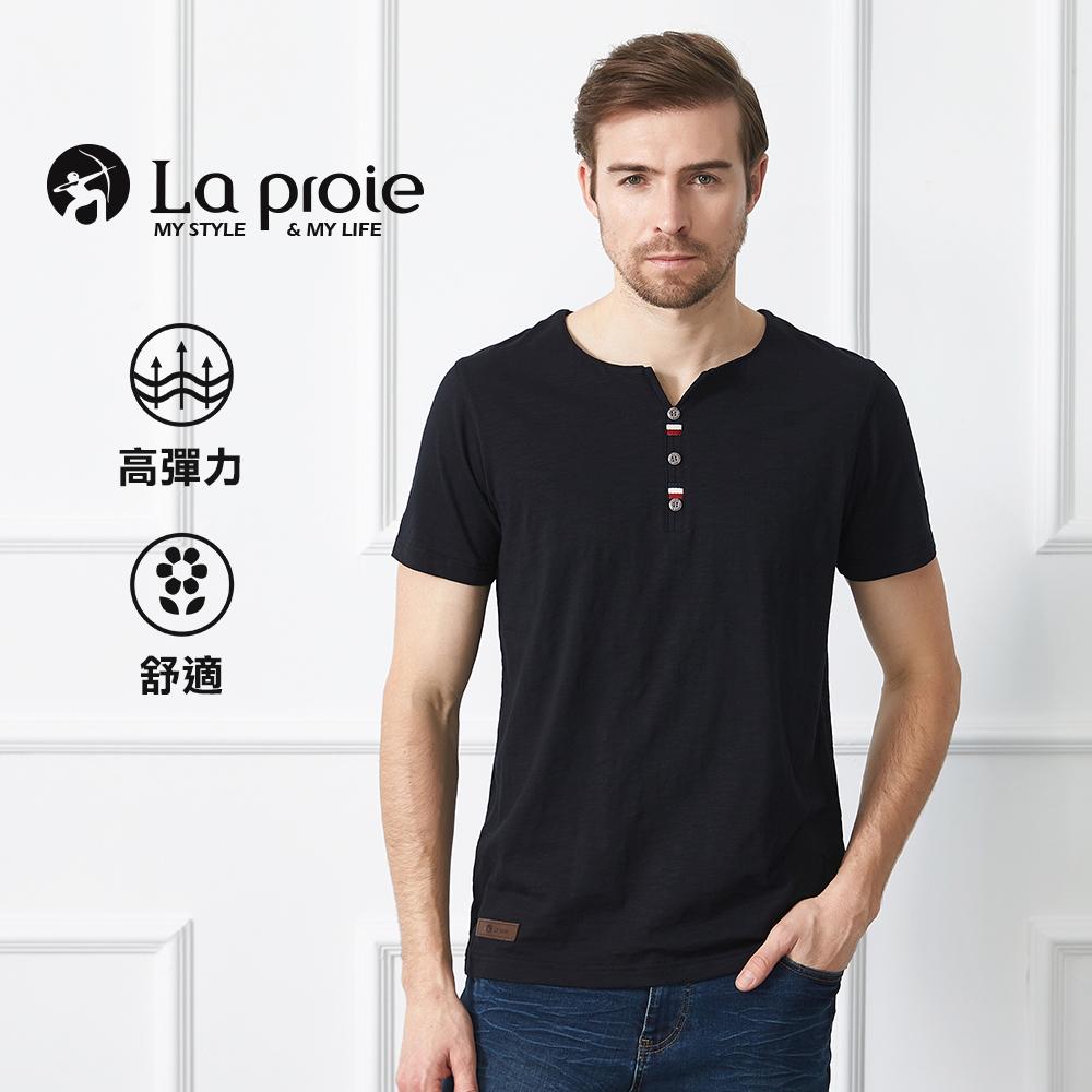 男式休閒V領鈕扣彈力T恤(三色-彈力吸濕排汗棉質舒適T)