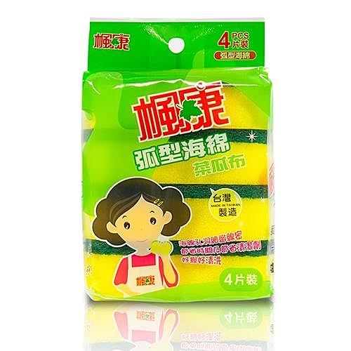 楓康 弧形海棉菜瓜布(4片裝)【愛買】