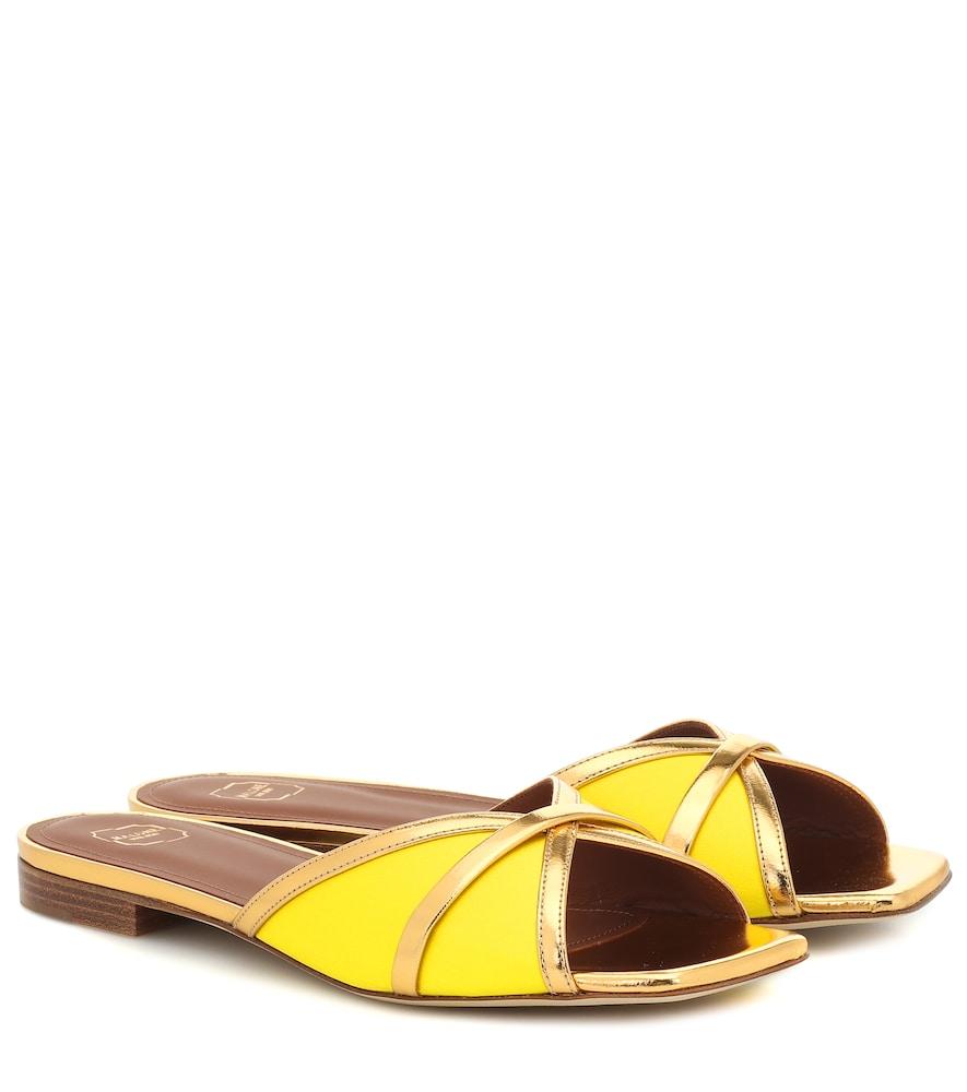 Perla leather-trimmed satin sandals