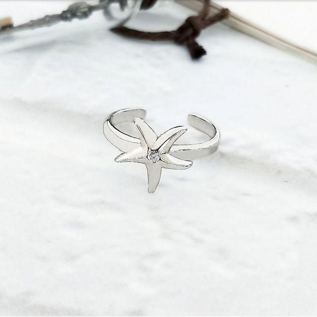 【DoriAN】海星鑲鑽925純銀活動戒圍戒指 腳戒 兩用戒 銀色