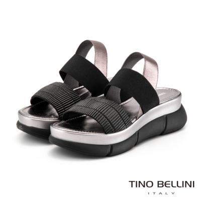 Tino Bellini義大利進口褶紋彈力帶厚底涼鞋_黑灰