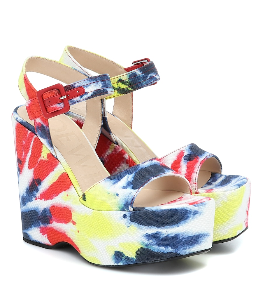 Paula's Ibiza tie-dye canvas wedge sandals
