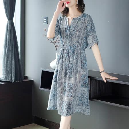 【Jisen】復古小立領大尺碼洋裝(L~3L)