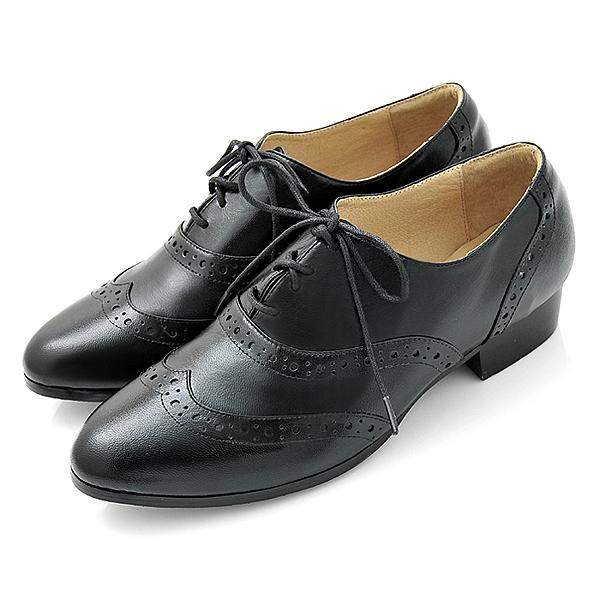 karine(MIT台灣製)全真皮綁帶低跟牛津鞋-黑色