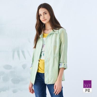 ILEY伊蕾 萊賽爾微光澤花朵印花長版外套(綠)