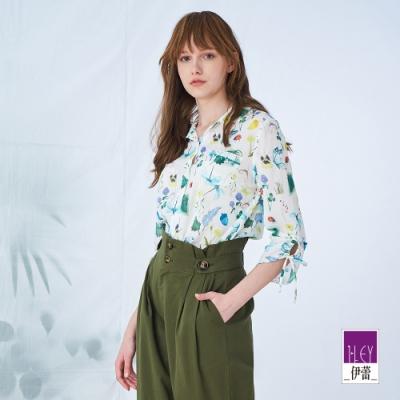 ILEY伊蕾 森林水彩感純棉七分袖襯衫(白)