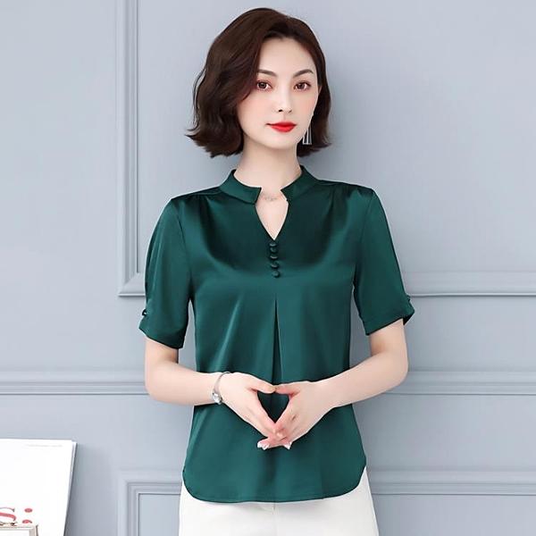 2020夏季新款寬鬆大碼V領真絲襯衫女短袖韓版氣質外穿桑蠶絲上衣