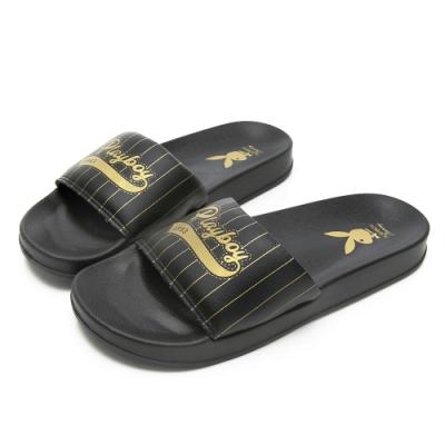 PLAYBOY美式熱情條紋休閒拖鞋-黑-YT617CC