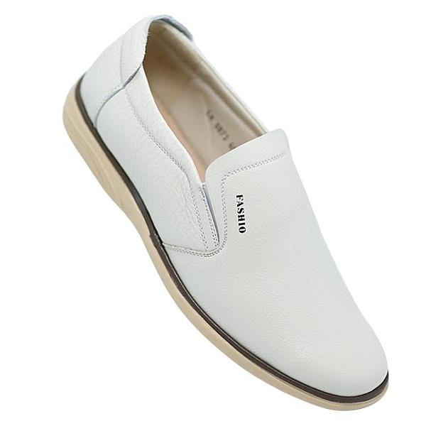 夏季男士米白色皮鞋男白鞋淺色米色商務休閒男鞋軟底爸爸鞋子 有緣生活館