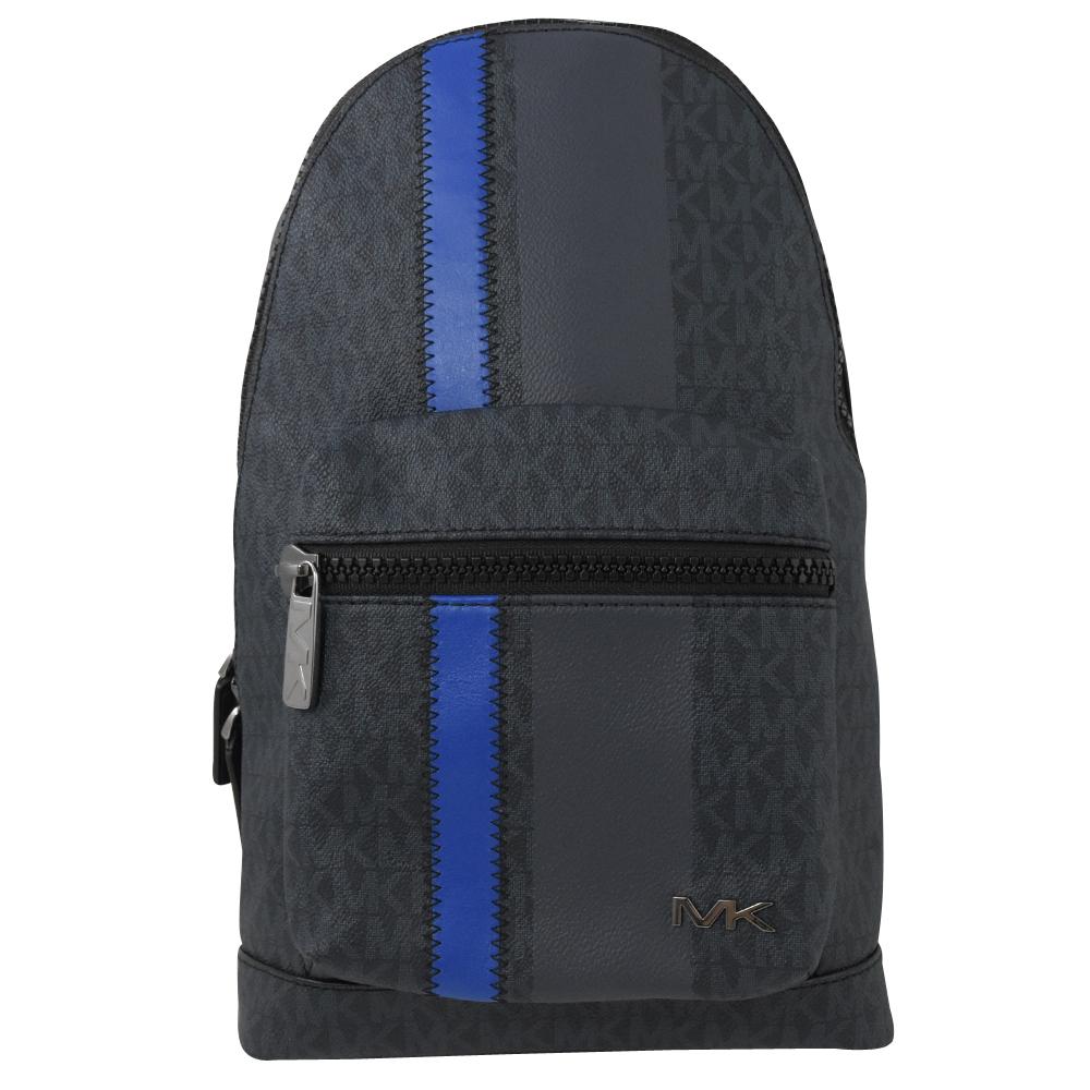 MICHAEL KORS COOPER 字母印花條紋胸口單肩後背包 黑藍