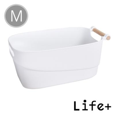 Life+ 原色生活 木柄提把多功能收納籃/置物籃(M)