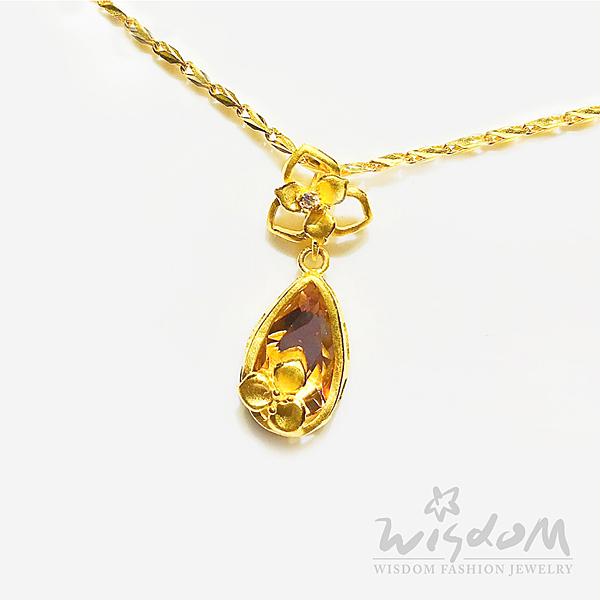 威世登 黃金花型鑲白石水晶墜(不含鍊) 約0.84~0.86錢 GD01490-AGXX-FIX