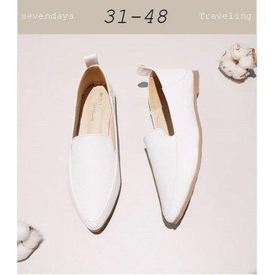 大尺碼女鞋小尺碼女鞋尖頭牛津荔枝皮革兩穿穆勒鞋平底鞋包鞋皮鞋休閒鞋白色(31-48)