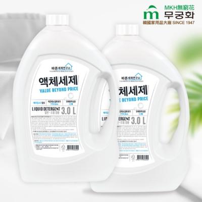 【韓國MKH無窮花】極淨實驗室 酵素小蘇打洗衣精3.0L x2瓶