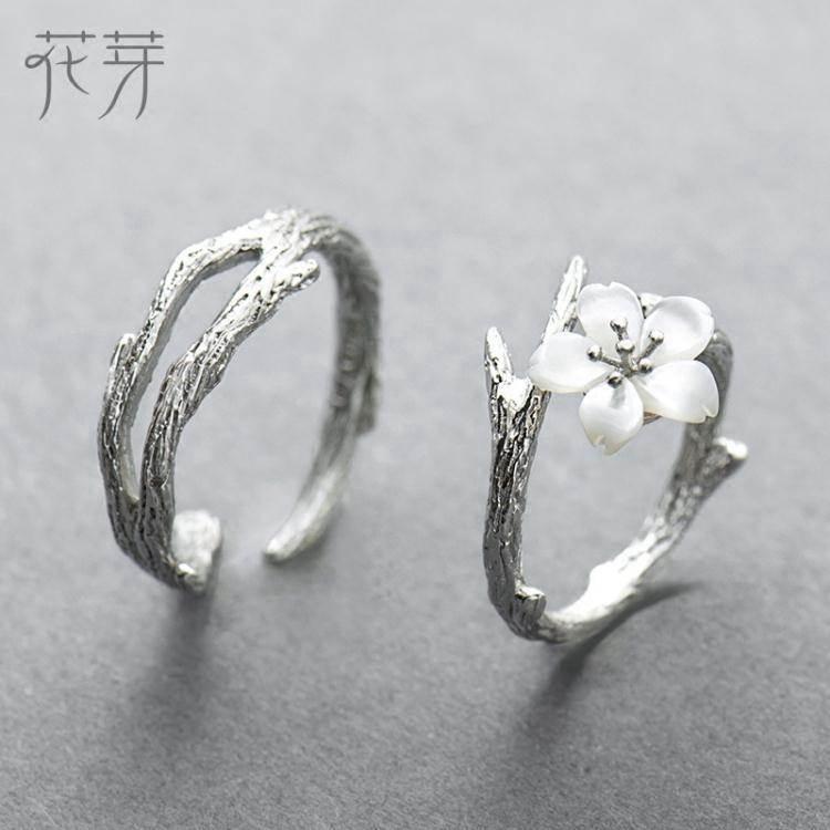 花芽原創設計雪櫻花情侶戒指一對純銀簡約日韓潮人學生開口對戒
