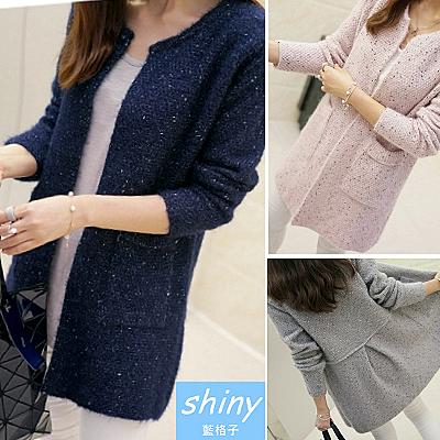 【T21178-2】shiny藍格子-瑕疵特賣.顯瘦寬鬆圓領中長款針織毛衣開衫外套