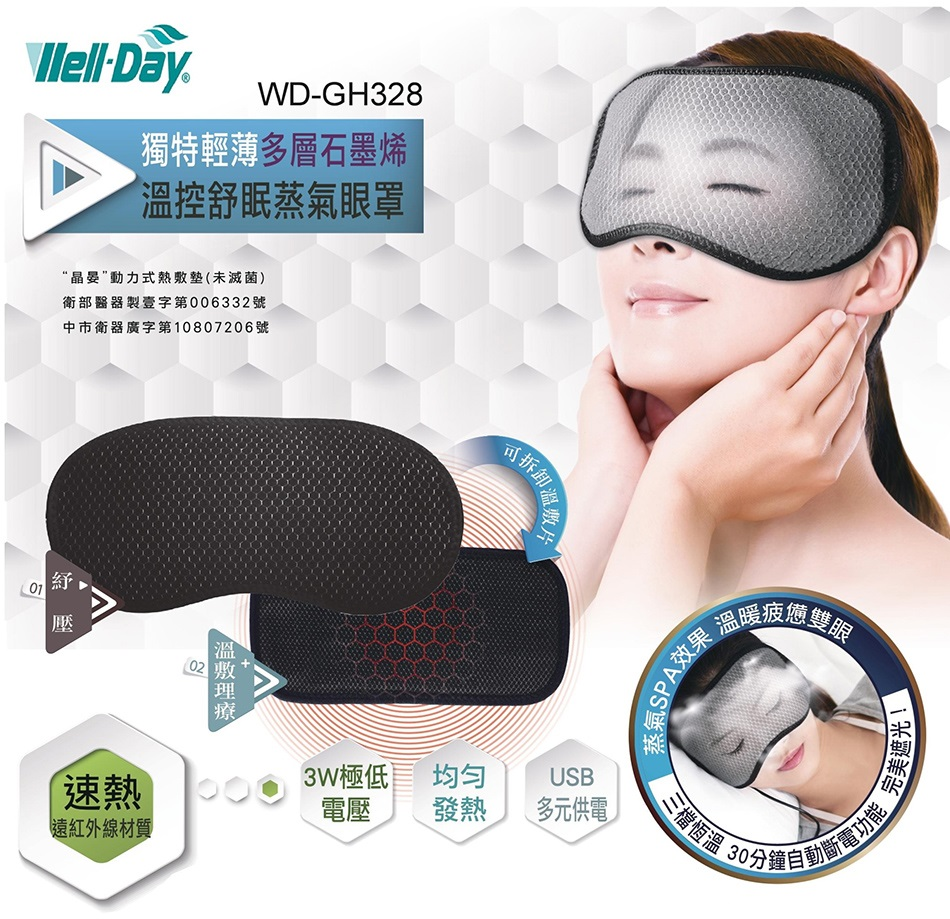 WELL-DAY 晶晏 石墨烯 多功能溫控熱敷墊 石墨烯眼罩 WD-GH328