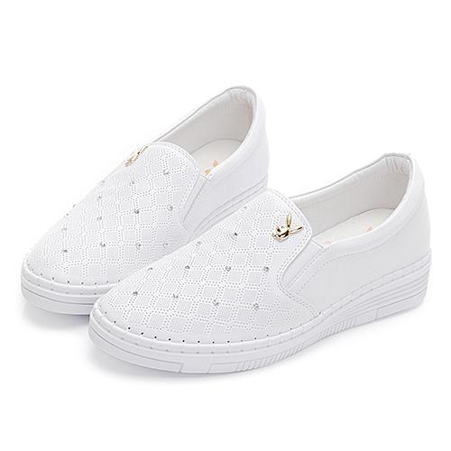 PLAYBOY優雅星鑽真皮樂福鞋-白(Y6270)
