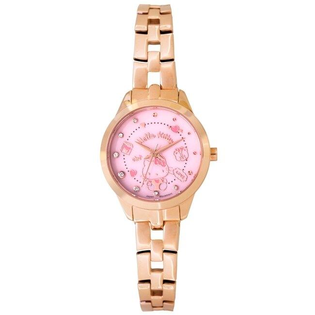 HELLO KITTY 凱蒂貓 甜美手錶 LK707LRPS 玫瑰金X粉/27mm