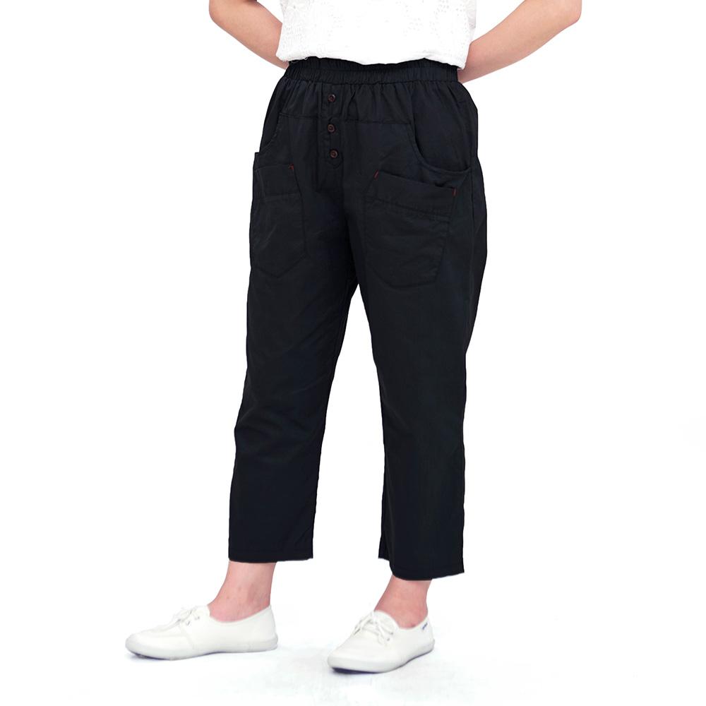 Jumase精梳棉 九分休閒褲一黑 中大尺碼 (KS18059631)口袋