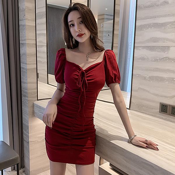 出清388 韓系露肩抽繩純色夜店V領包臀裙子性感短袖洋裝