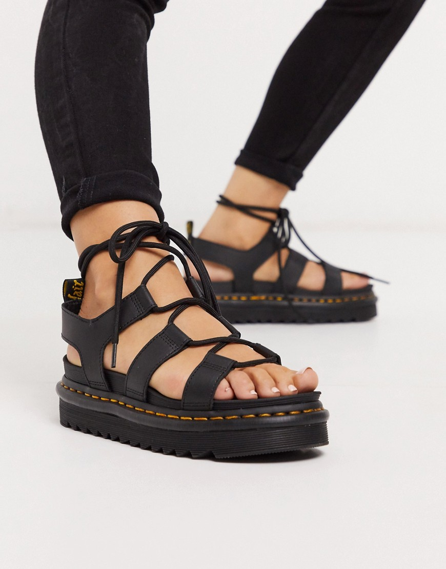 Dr Martens Nartilla Lace Up Chunky Sandal-Black