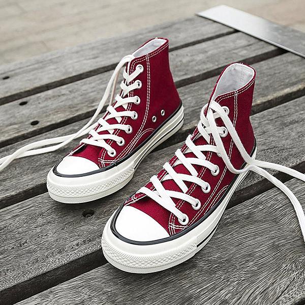 X-INGCHI 男女款基本款酒紅色高筒帆布鞋-NO.X0143
