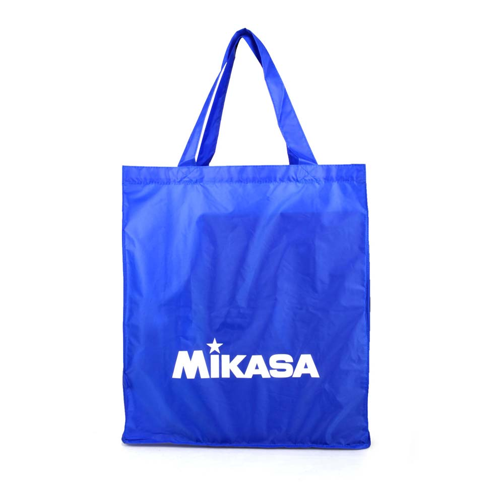MIKASA 摺疊購物袋-手提袋 肩背袋 可收納 排球 環保袋 藍白 F