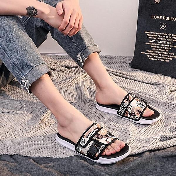 拖鞋 2020夏季新款拖鞋男時尚外穿韓版一字拖情侶室外防滑網紅涼鞋潮流 莎瓦迪卡