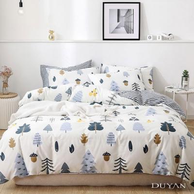 DUYAN竹漾 MIT 舒柔棉-雙人床包枕套三件組-栗松秘境