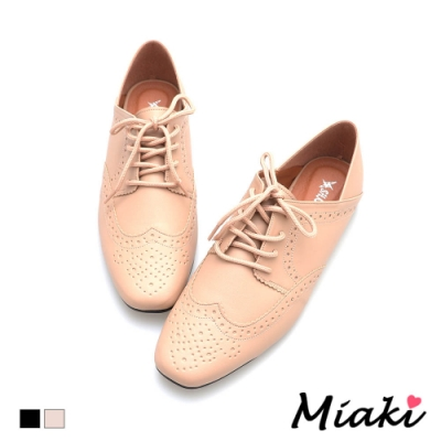 Miaki-休閒鞋牛津2穿平底穆勒鞋-卡其