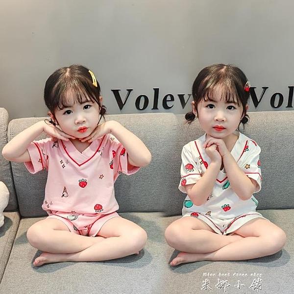 女童睡衣夏季薄款兒童純棉短袖居家服小童寶寶寬鬆舒適家居服套裝 米娜小鋪