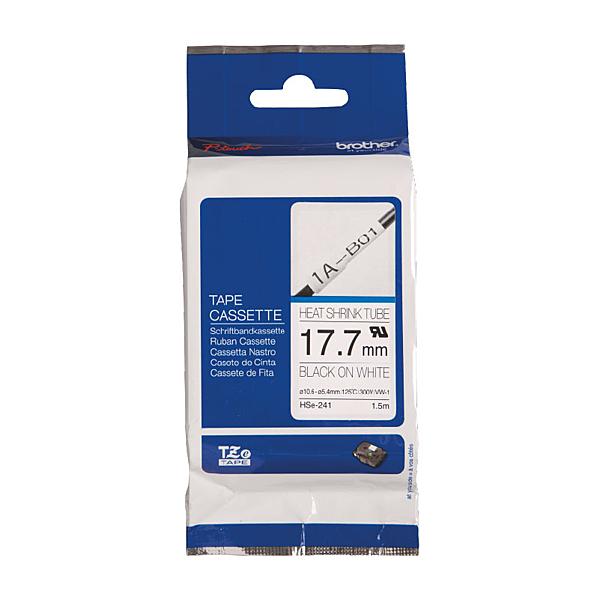 Brother HSe-241 熱縮套管標籤帶 17.7mm 白底黑字 可使用18mm以上之PT標籤機 PT-710BT不適用