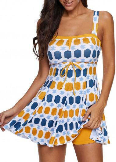 Geometric Print Spaghetti Strap Swimdress and Shorts