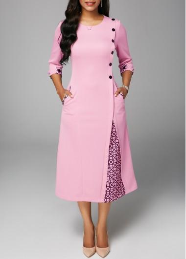 Round Neck Printed Three Quarter Sleeve Dress