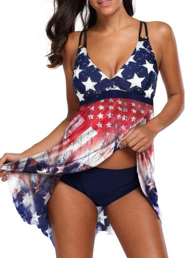 Star Print Handkerchief Hem Cross Strap Swimdress and Panty