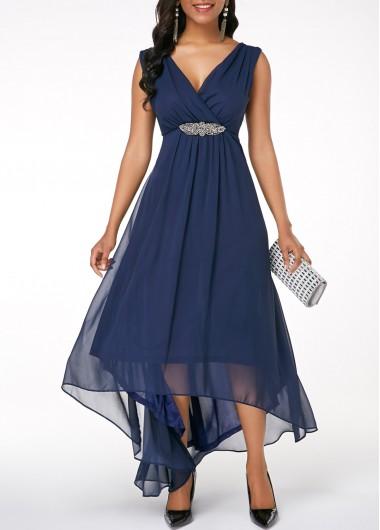 Sleeveless V Back High Low Navy Blue Dress