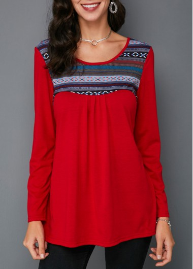 Red Long Sleeve Printed Round Neck T Shirt