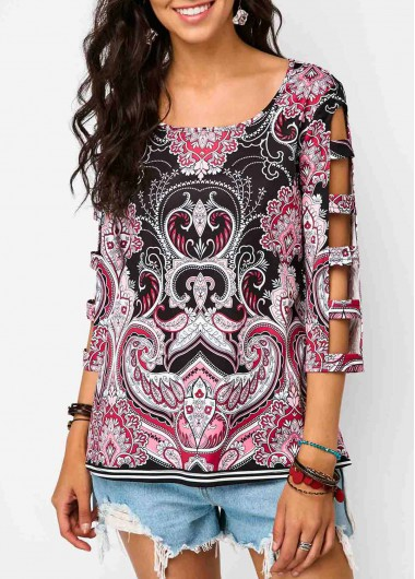 Scoop Neck Ladder Cutout Sleeve Printed Blouse