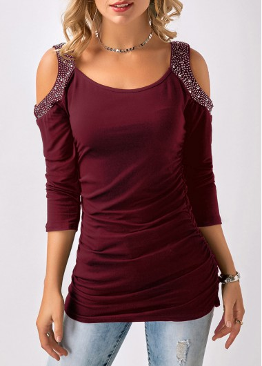 Cold Shoulder Burgundy Three Quarter Sleeve T Shirt